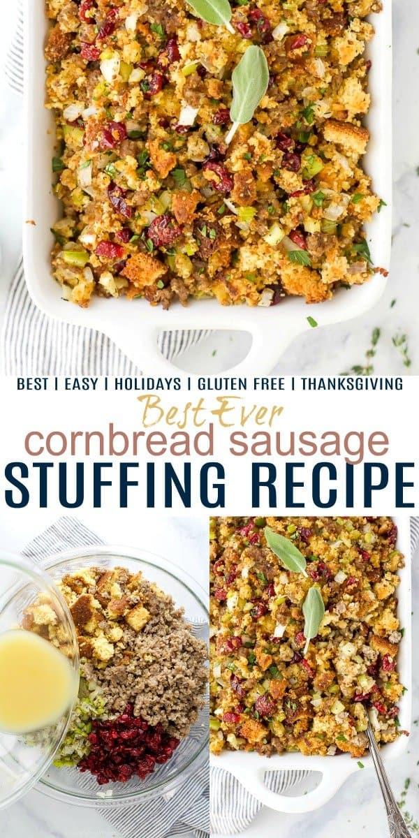 pinterest image for best ever cornbread stuffing