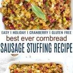 pinterest image for best ever cornbread sausage stuffing