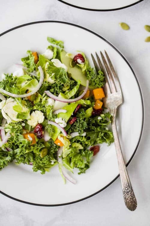 brussel sprout salad with cranberries on a plate
