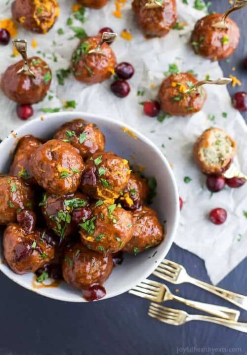 cranberry bbq meatballs in a bowl