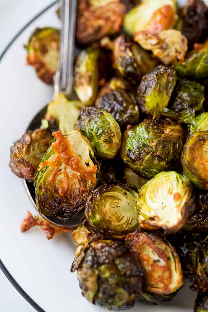close up of air fryer brussel sprouts