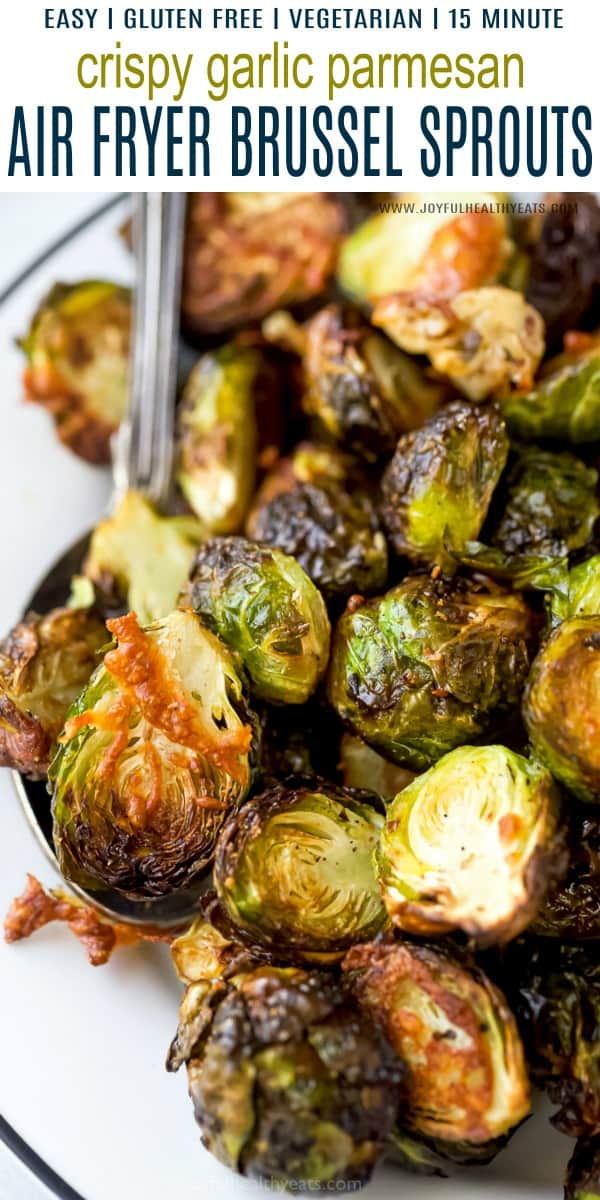 pinterest image for garlic parmesan air fryer brussel sprouts