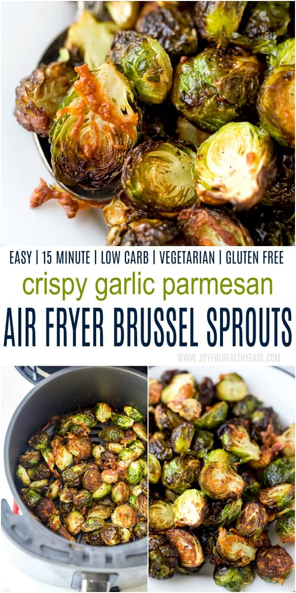pinterest image for air fryer brussel sprouts