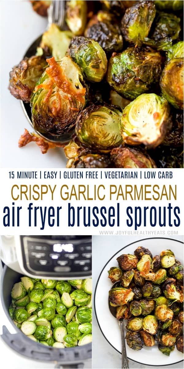 pinterest image for air fryer brussels sprouts