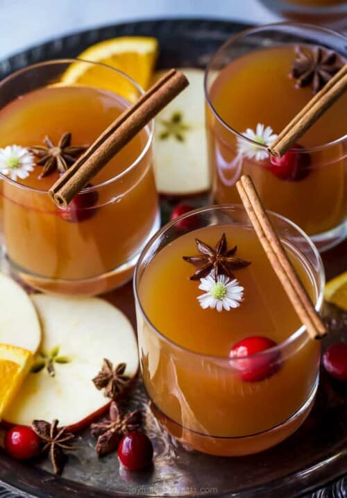 hot apple cider with star anise on top