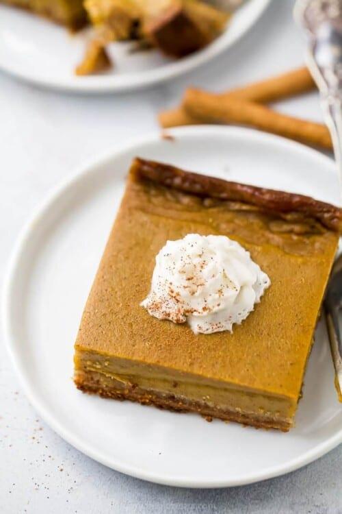 pumpkin pie bars on a plate