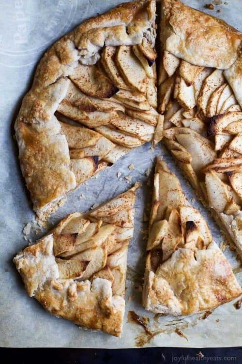 apple galette cut into pieces