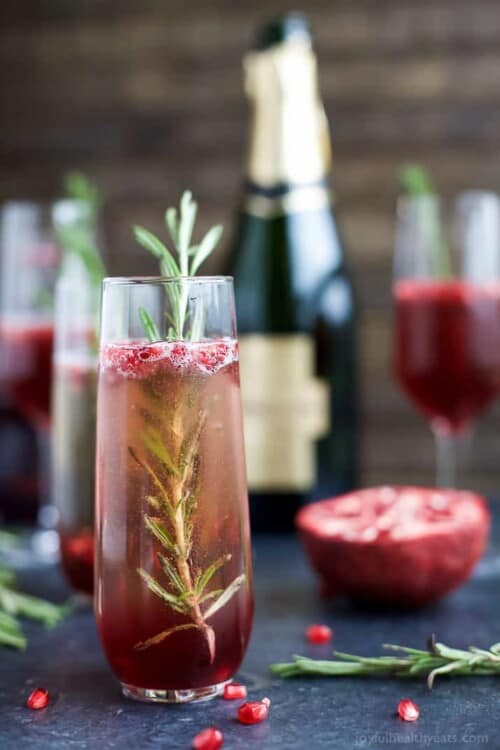 pomegranate mimosa in a flute