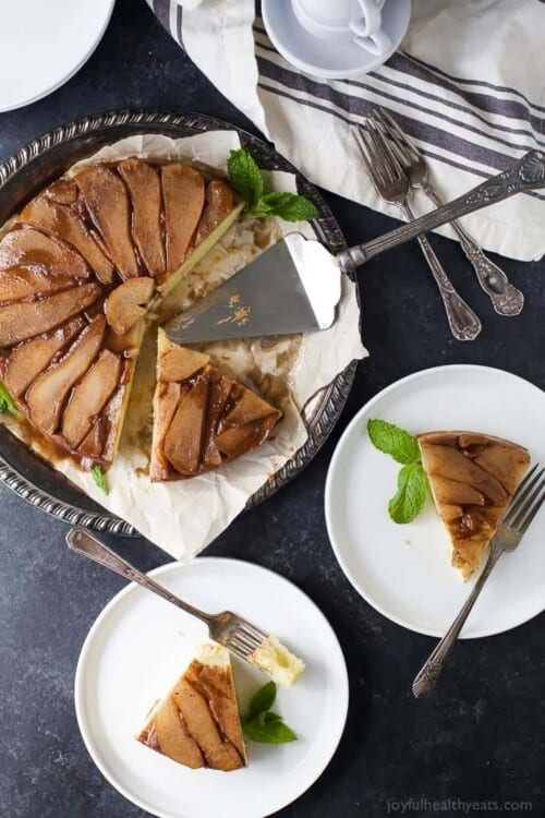 pear upside down cake on a plates