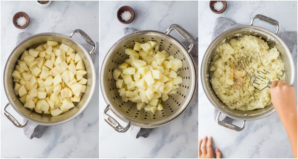 process photos of how to make mashed potatoes