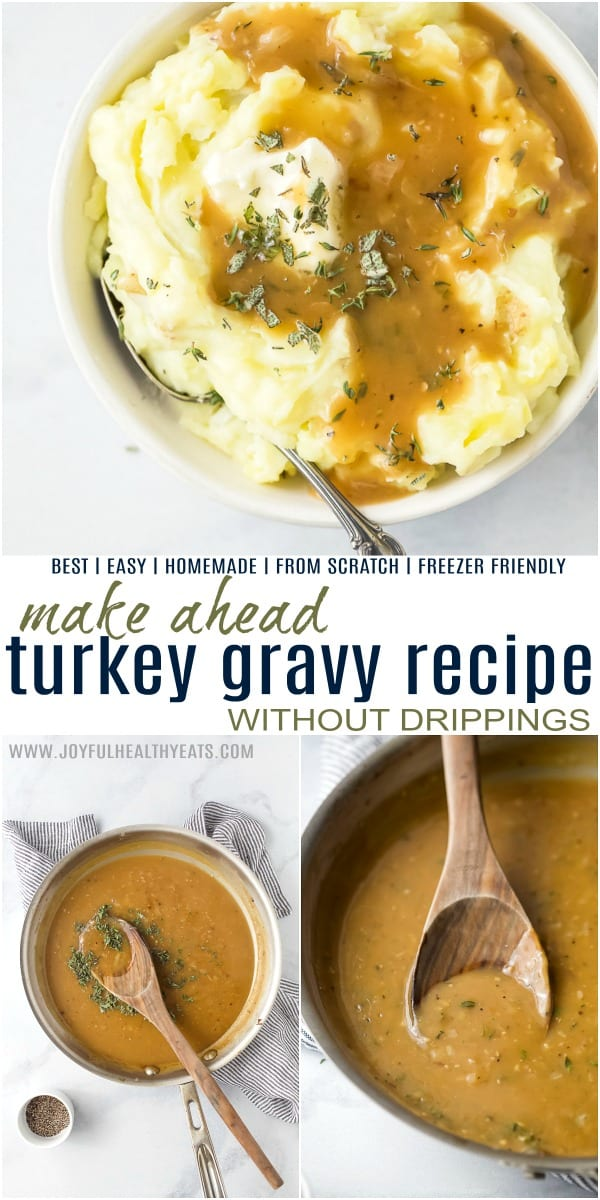 pinterest image for turkey gravy recipe with no drippings