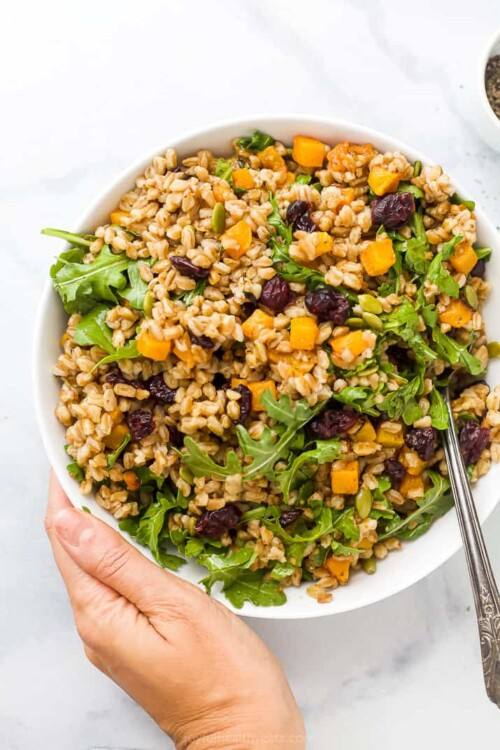 fall farro salad with butternut squash in a bowl