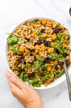 hand holding a bowl filled with farro salad