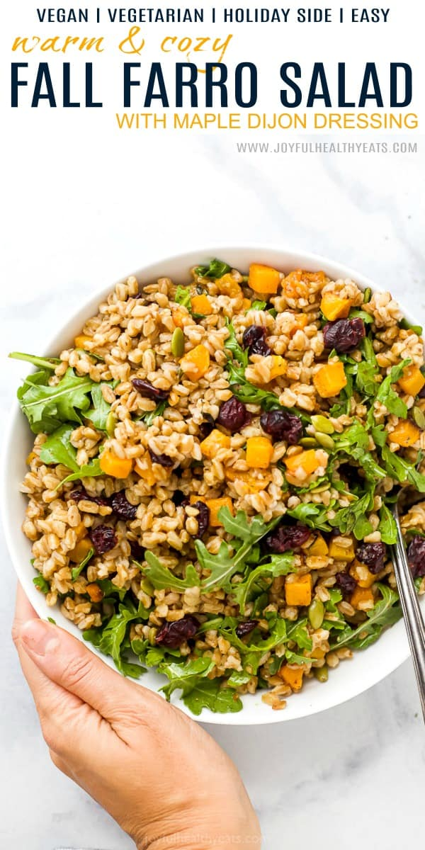 pinterest image for warm fall farro salad