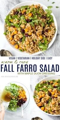 pinterest image for fall farro salad recipe