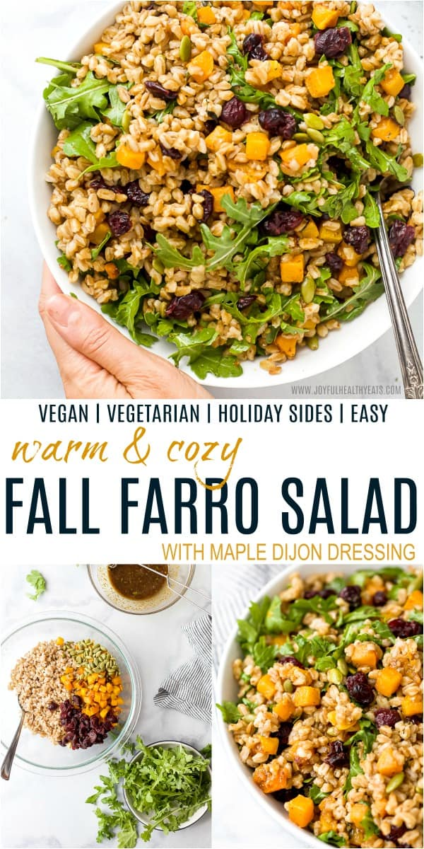 pinterest image for fall farro salad with dressing