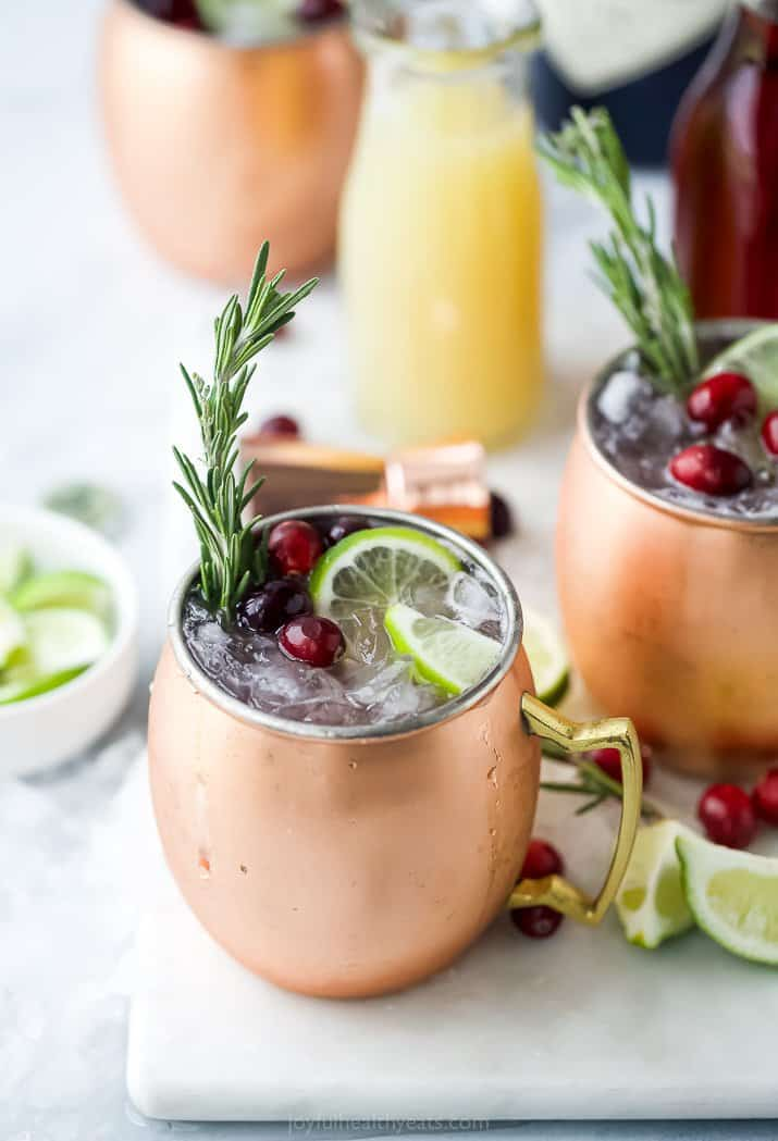 mug filled with cranberry gin moscow mule