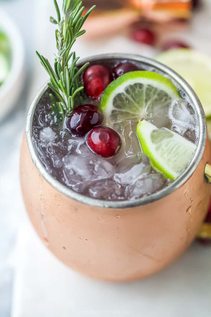 close up of mug filled with cranberry moscow mule