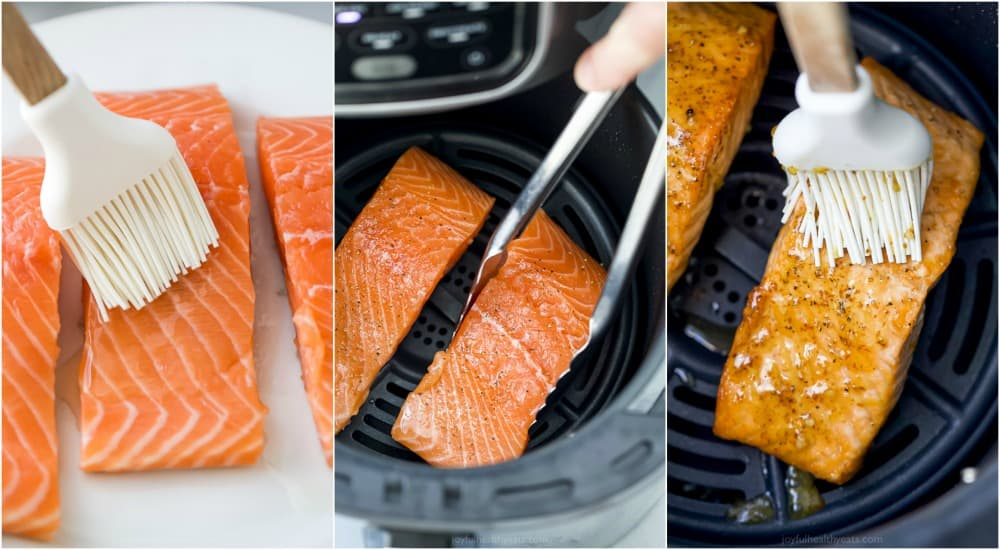 A Collage of Images of Salmon Before, During and After Being Cooked
