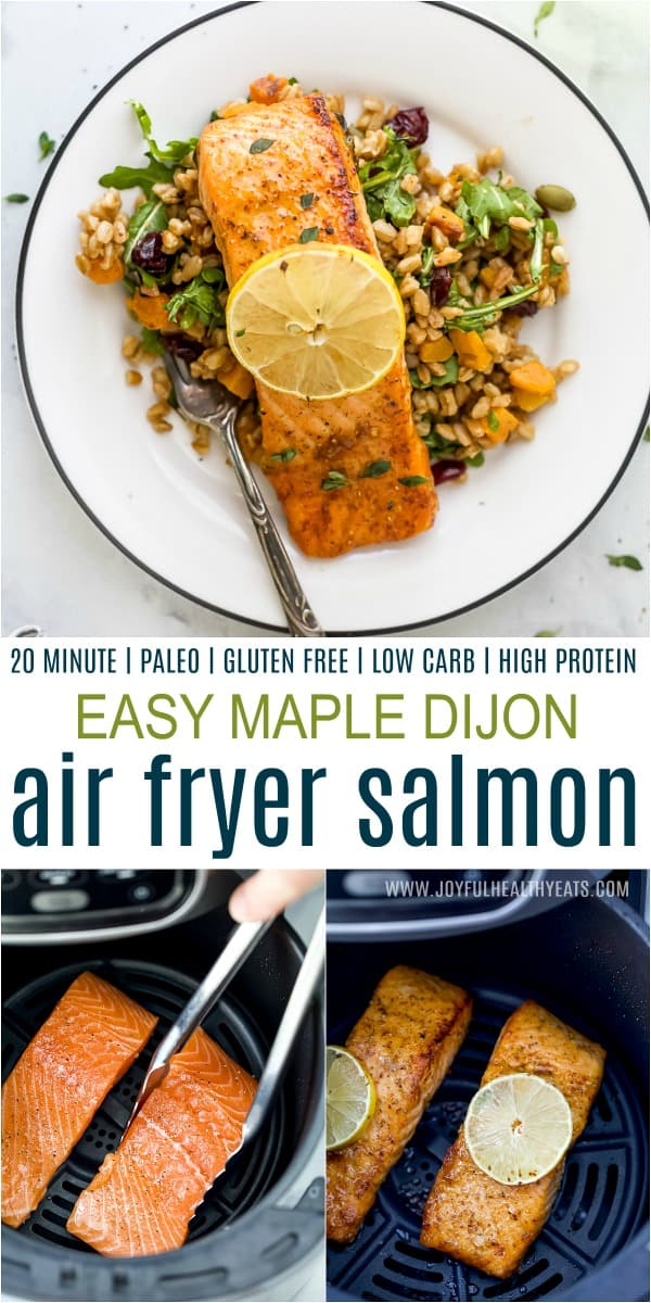 A Plate with Perfectly Cooked Salmon Above Two Images of Salmon Filets in the Air Fryer