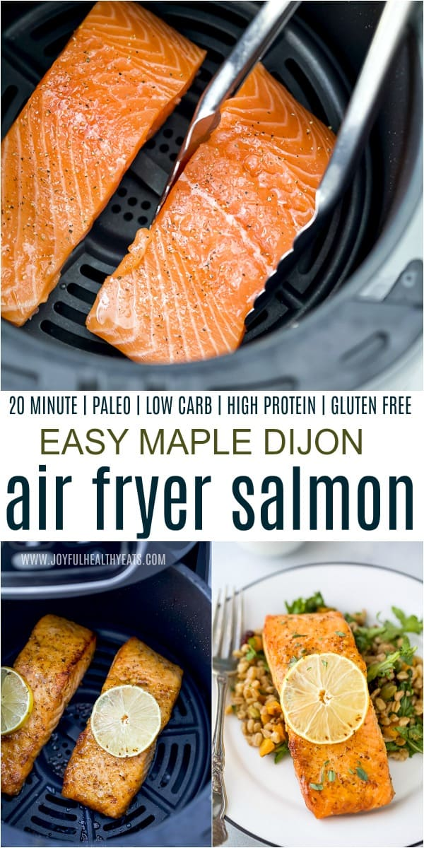 A Collage of Salmon Filets in the Air Fryer and On a Plate