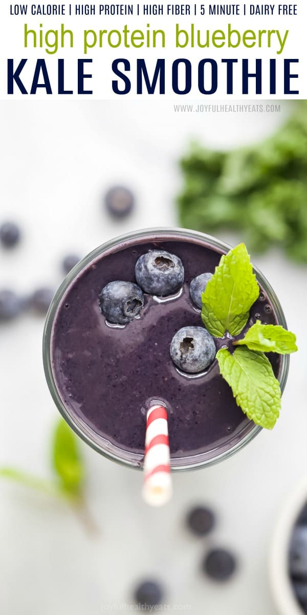 A Blueberry Kale Smoothie in a Glass, Shot From Above