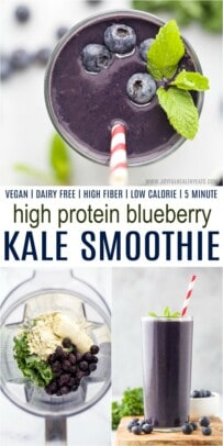 Protein Smoothie Ingredients in a Blender Next to a Completed Drink in a Glass