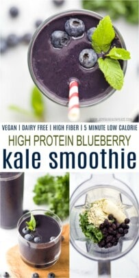 A Collage of Three Images of Blueberry Kale Protein Smoothies