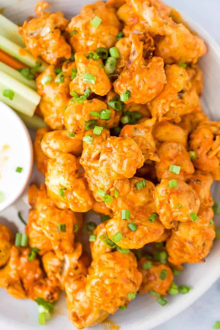 A Close-Up Shot of Vegetarian Buffalo Wings on a Plate
