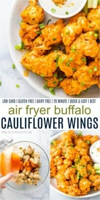 A Collage of Three Images of Air Fryer Cauliflower Wings