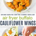 A Bowl of Cauliflower Wings Above More Wings and Ranch Dressing