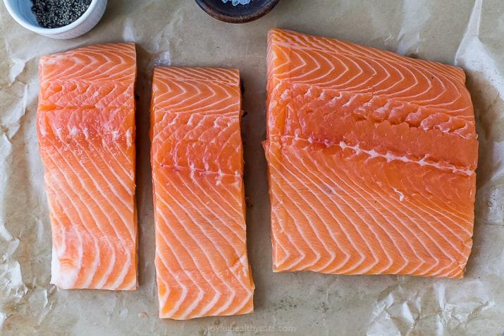 A Fresh, Wild Caught Salmon Cut Into Filets