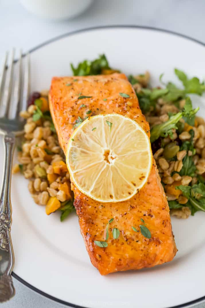 A Plate of Air Fryer Salmon Over a Farro Salad