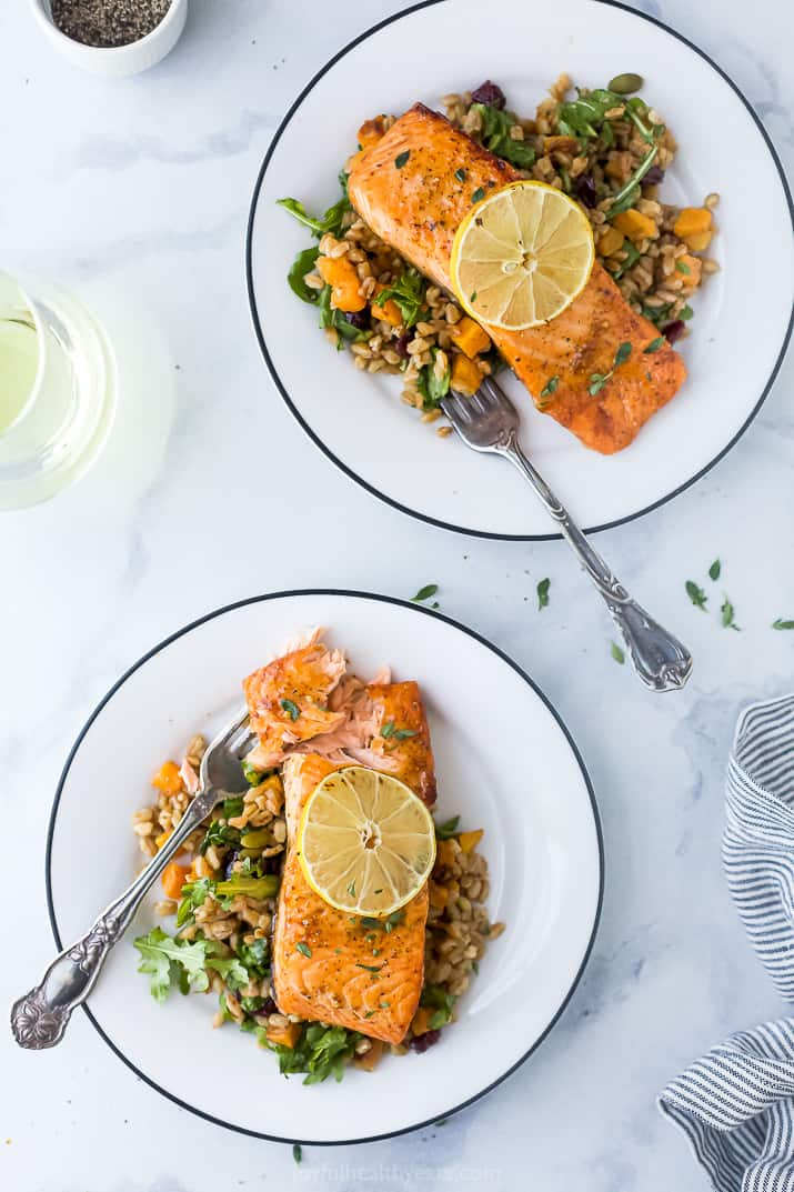 Two Plates Filled with Air Fryer Salmon and Farro Salad