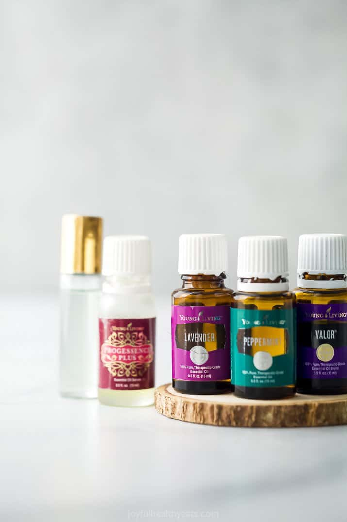 close up of essential oils for headaches