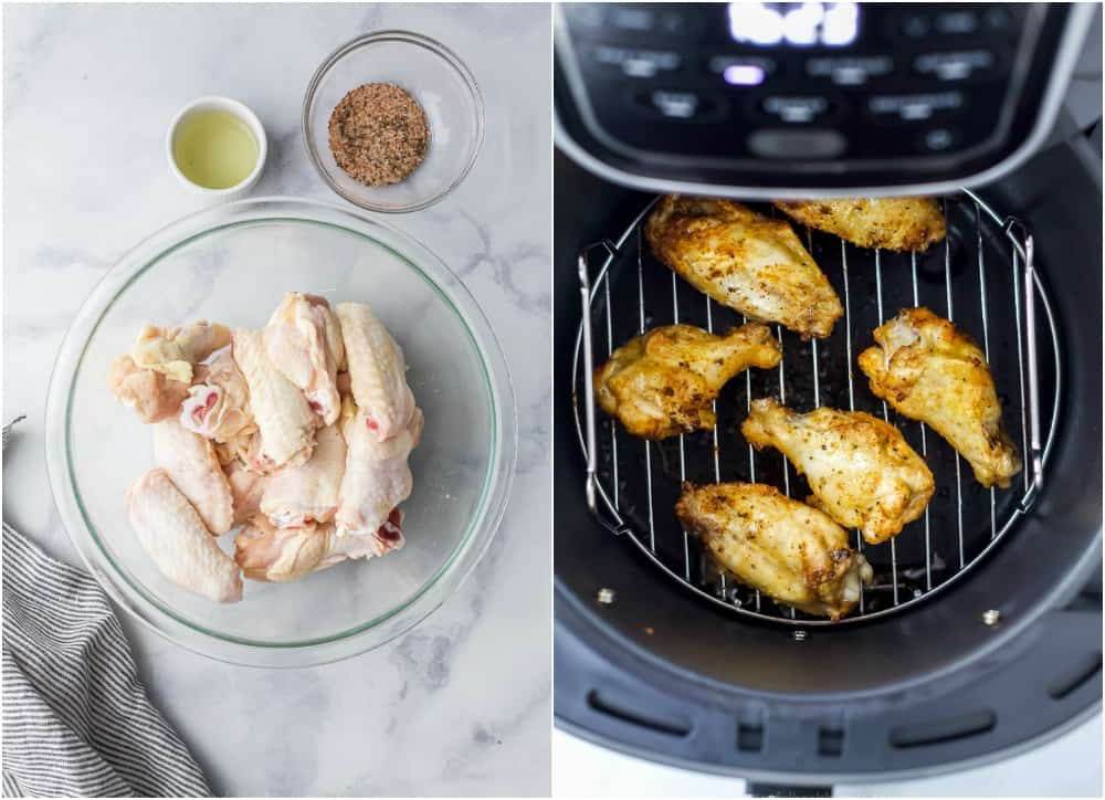 A Collage of Raw Chicken Wings, Seasoning Mixtures and Chicken Cooking in the Air Fryer