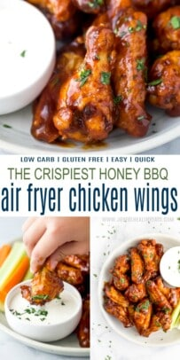 A Collage of Three Images of Honey BBQ Chicken Wings