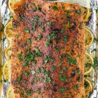 close up of whole30 baked salmon