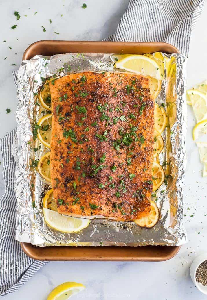 whole30 baked salmon on a baking sheet