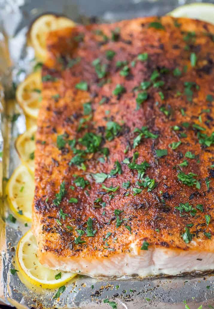closeup of baked salmon with spice rub