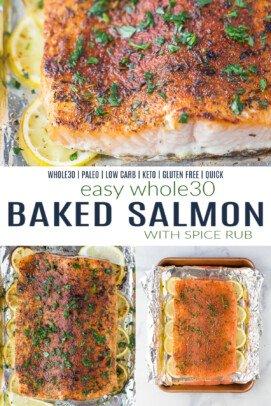 pinterest image for whole30 baked salmon