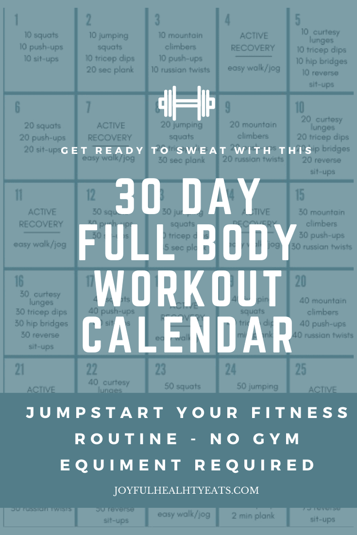 pinterest image for full body 30 day workout challenge