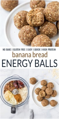 pinterest image for no bake banana bread energy balls