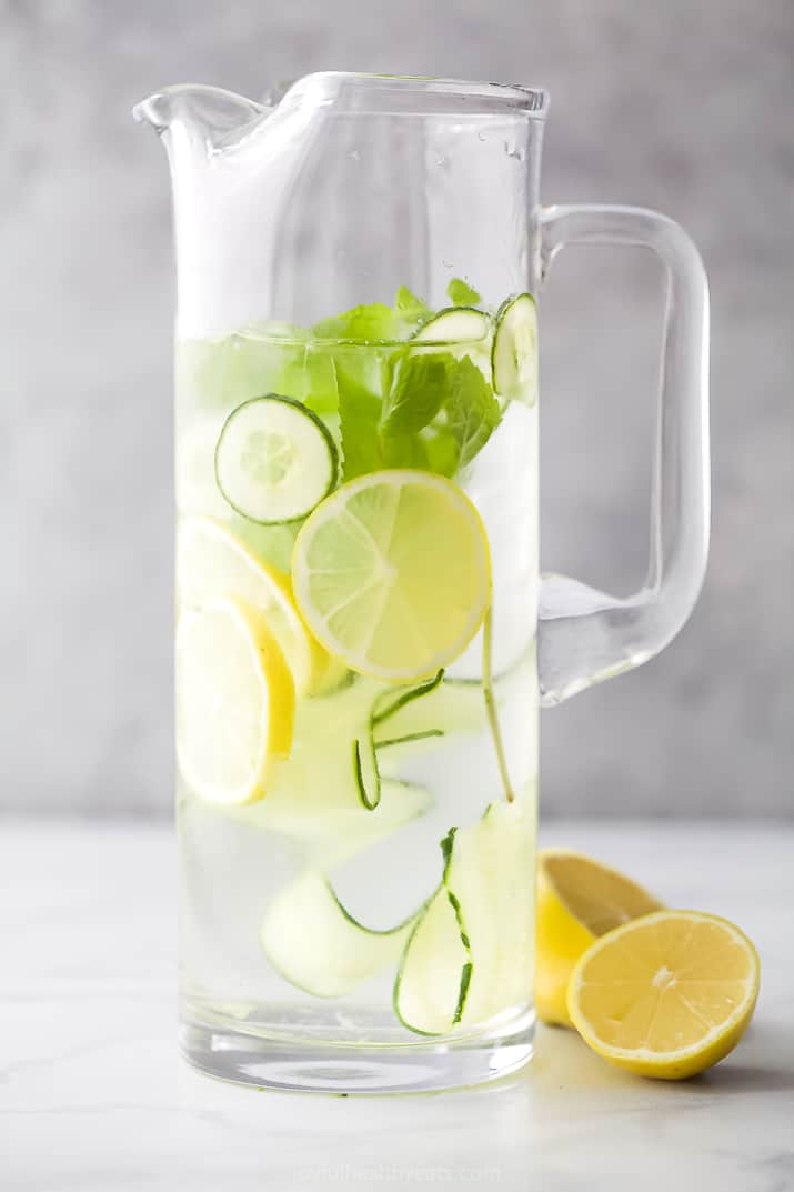 pitcher filled with lemon cucumber water