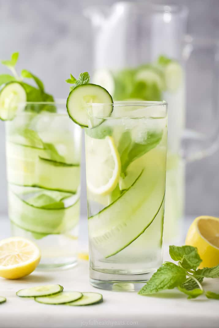 glass filled with cucumber water