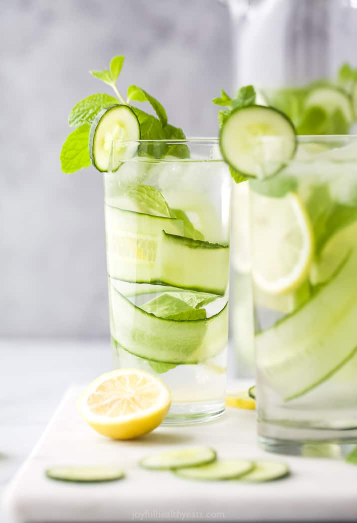 glasses filled with cucumber water