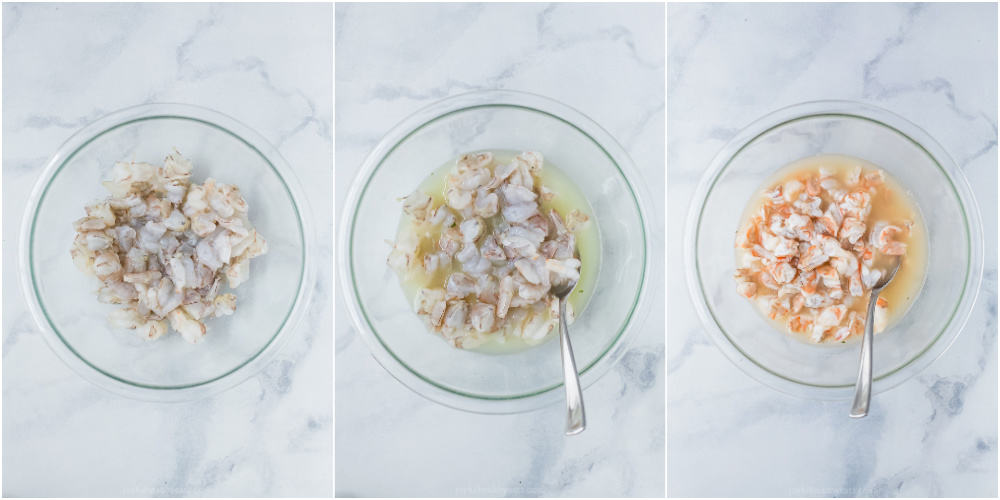 A Collage of Three Images of Shrimp Cooking in a Bowl of Fresh Lime Juice