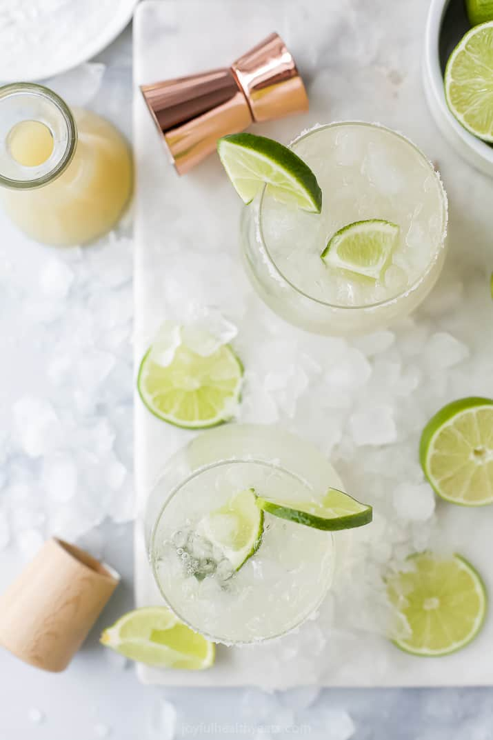 A Tray of Low Calorie Margaritas Shown From Above