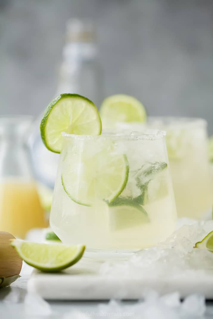 A Skinny Margarita in a Glass Garnished with a Slice of Lime