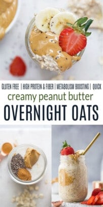 pinterest image for Easy Creamy Peanut Butter Overnight Oats
